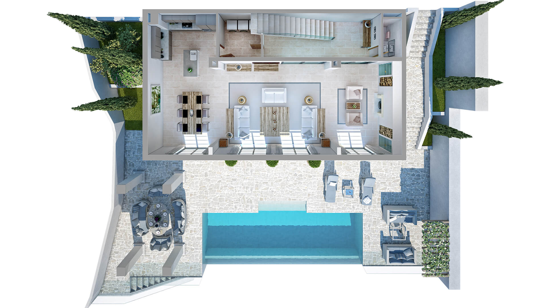 3D render of the villa with a terrace.