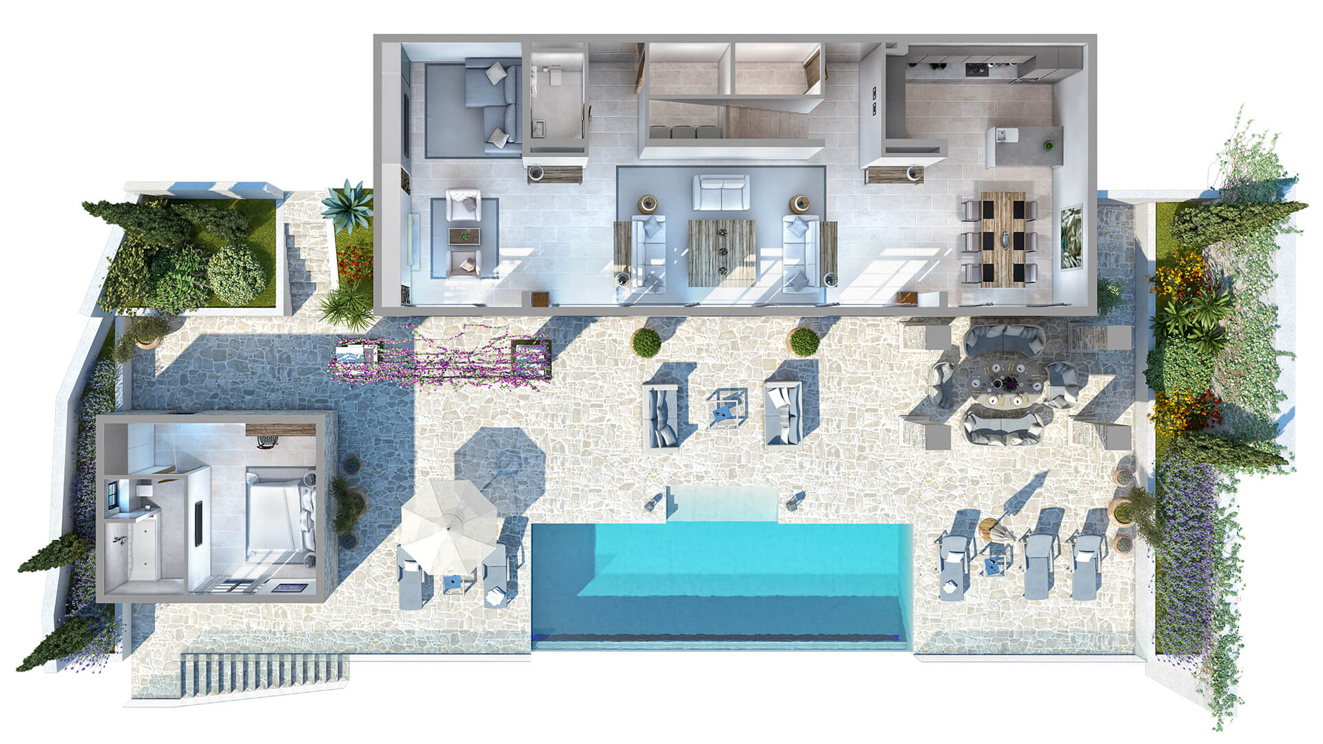 The 3D render of the house with a terrace and a swimming pool.