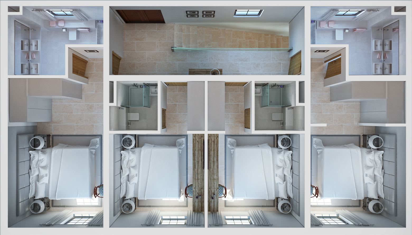 The 3D plan of the top floor of the residence with 4 bedrooms from above.
