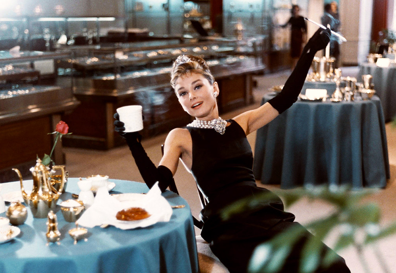 Actress Audrey Hepburn in the iconic black dress from the movie Breakfast at Tiffany's.